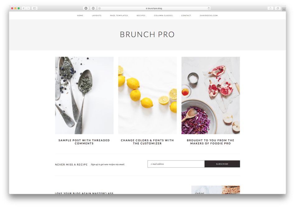 Screenshot of the Brunch Pro food blog WordPress theme