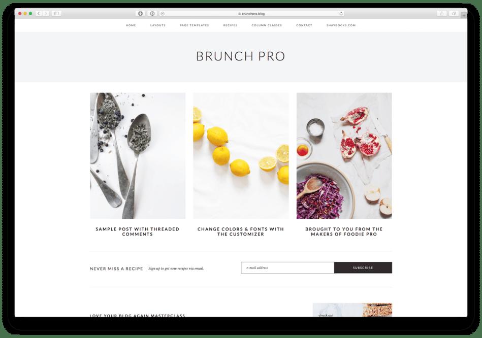 Screenshot of the Brunch Pro food blog WordPress theme
