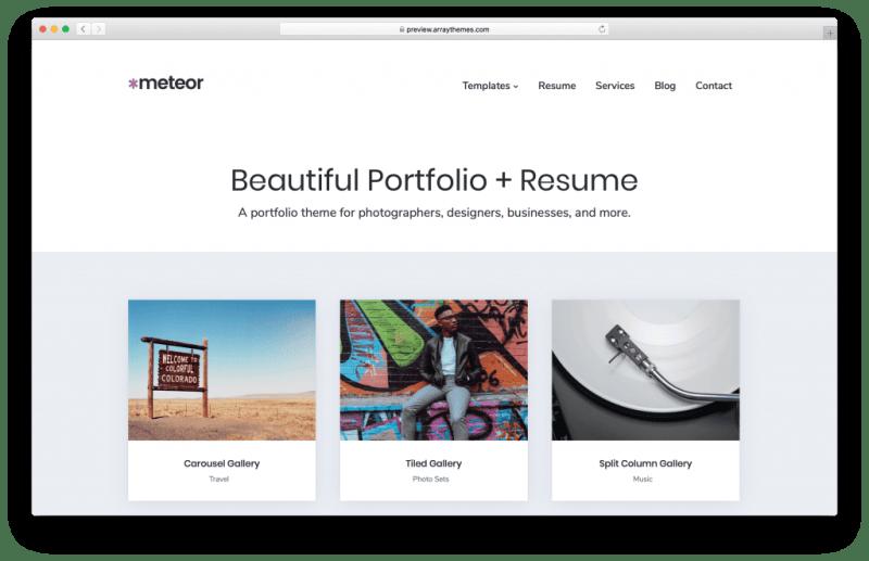 Meteor WordPress portfolio theme screenshot