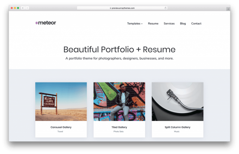 Meteor WordPress portfolio theme screenshot