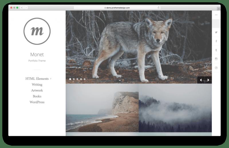 Monet WordPress portfolio theme screenshot