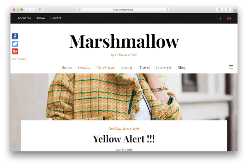 Fashion blog example.