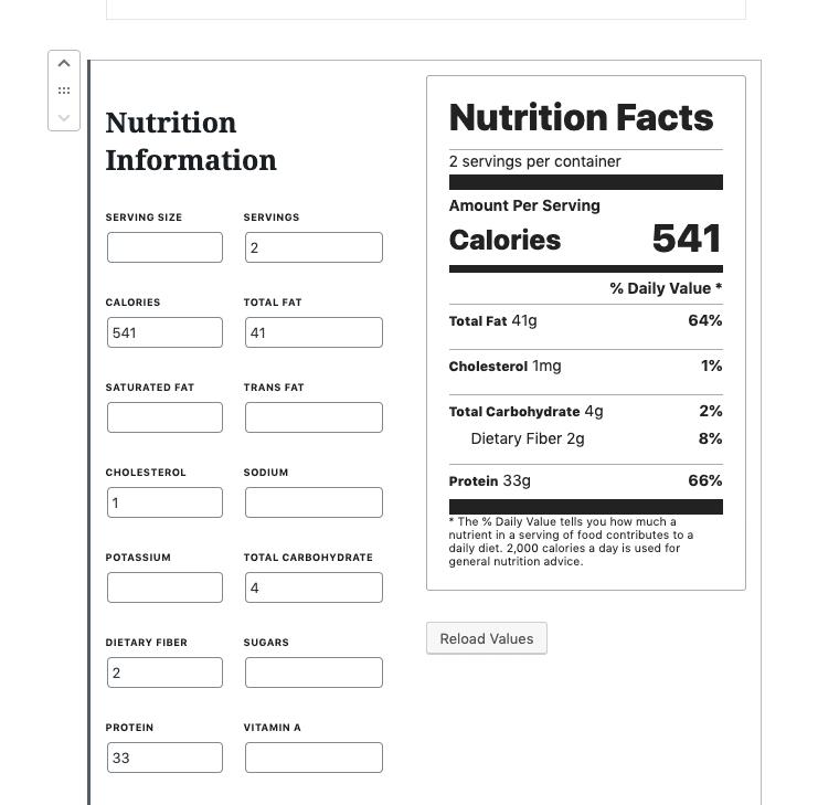 nutrition block wordpress
