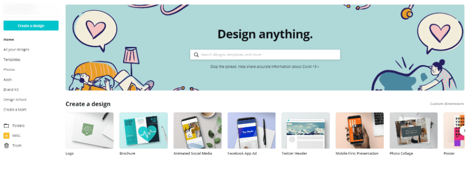 The Canva Dashboard the heart of your blog image designs