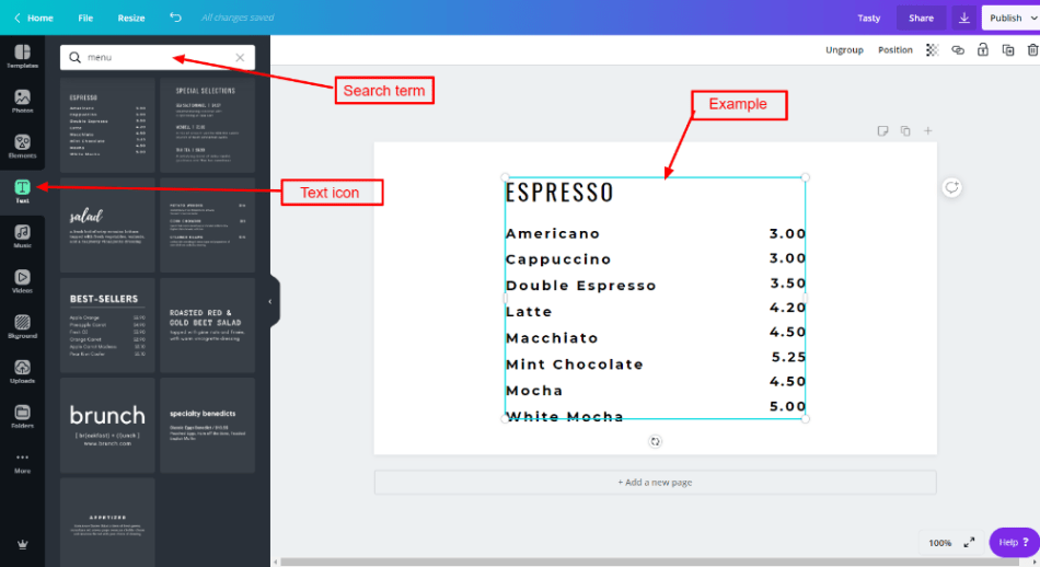 Text options for Canva