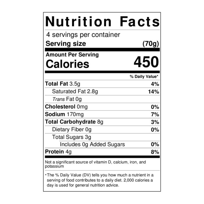 Tomato and basil wrap nutritional info