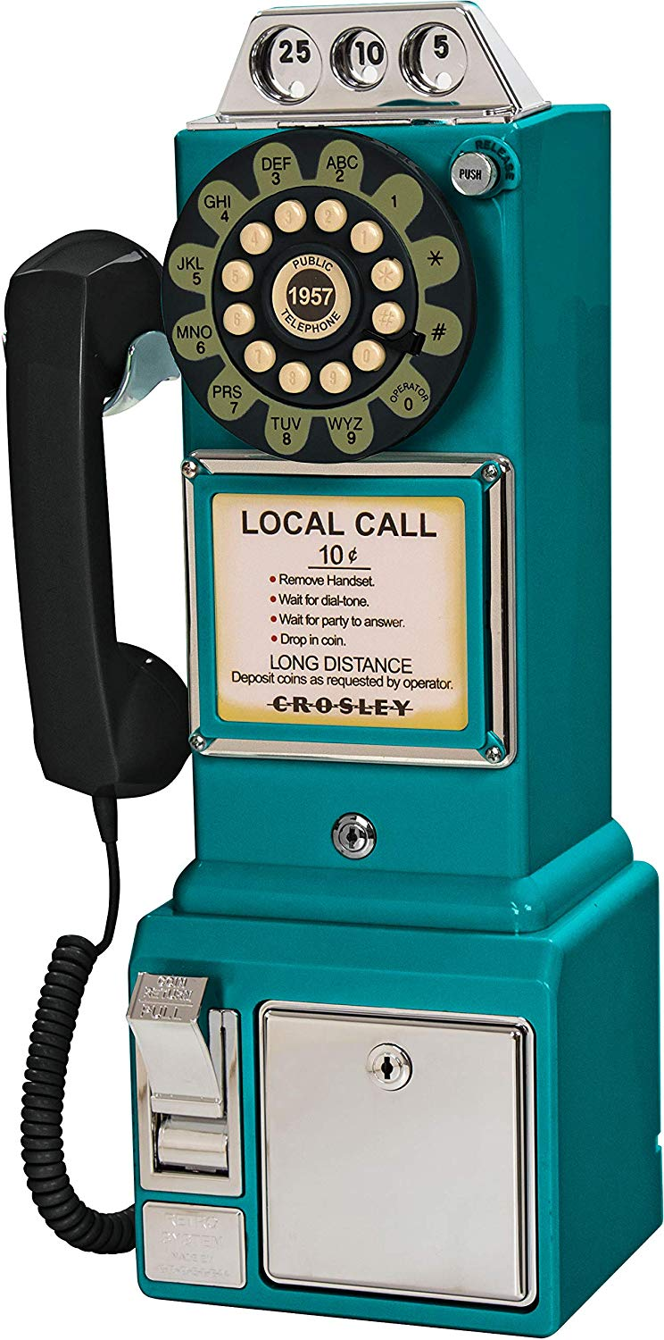Blue payphone for vintage rotary phone lover!