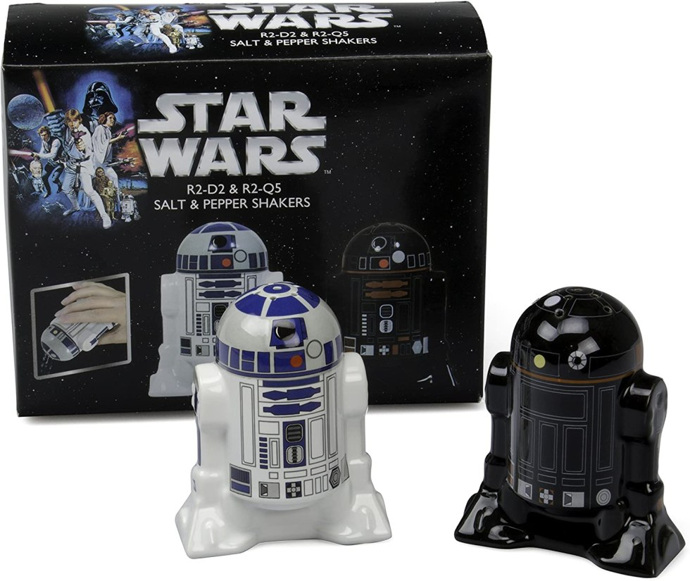 R2-D2 and R2-Q5 salt and pepper shakers Star Wars cooking gifts