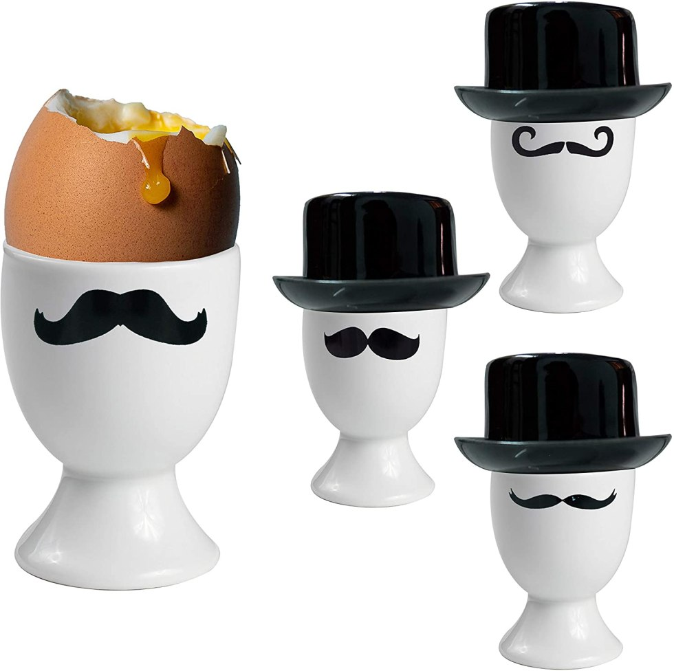 Mustache egg cups for egg gifts