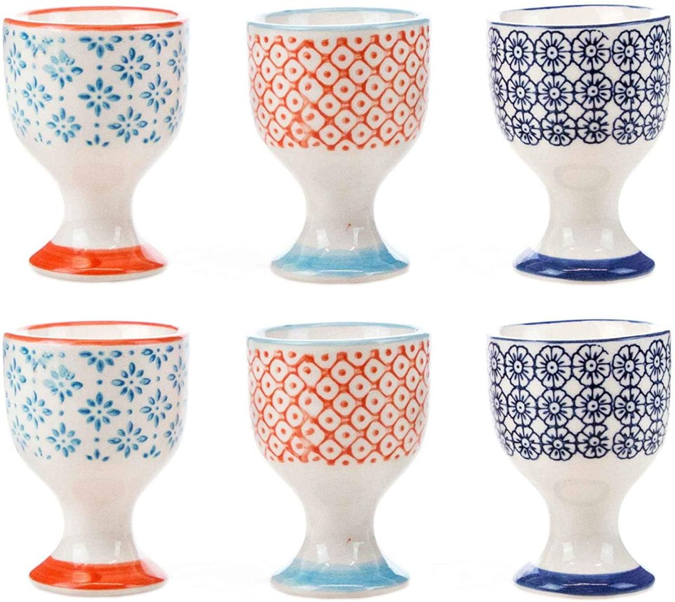 Patterned egg cups for egg gifts