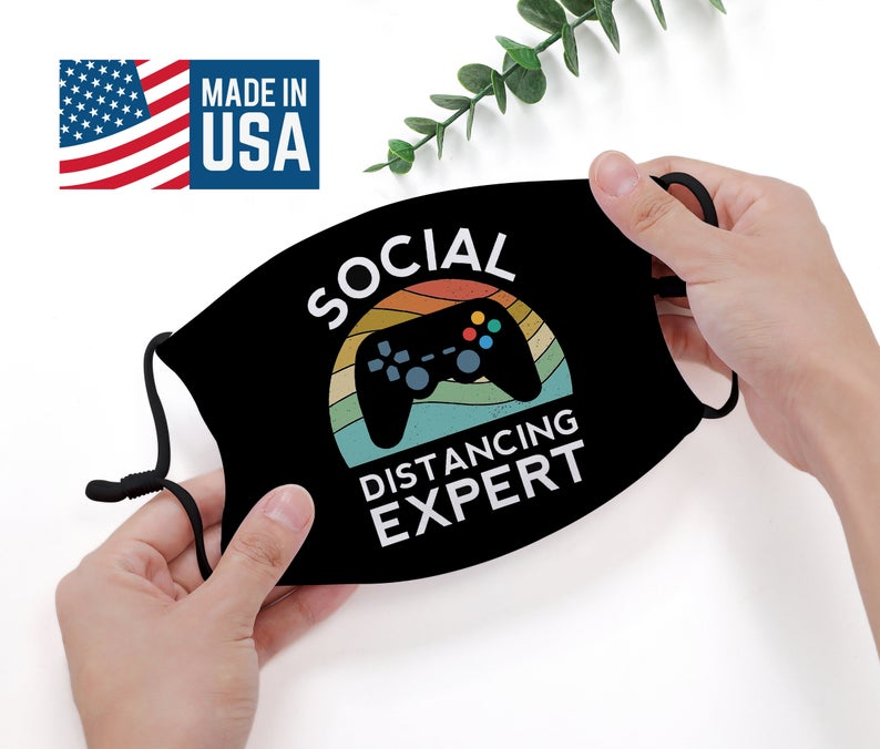 social distance video game face mask