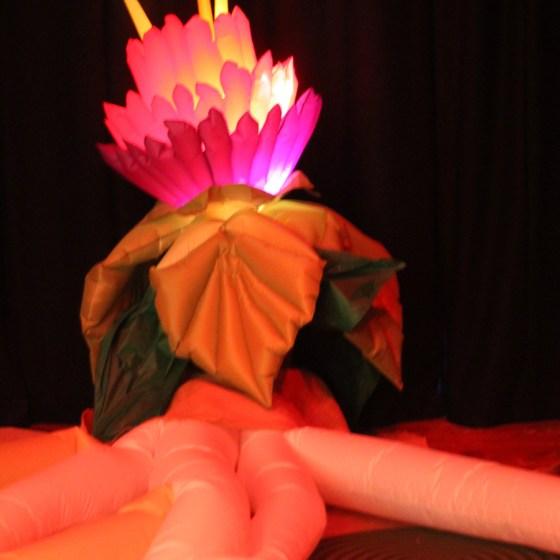 Illuminated inflatable flower