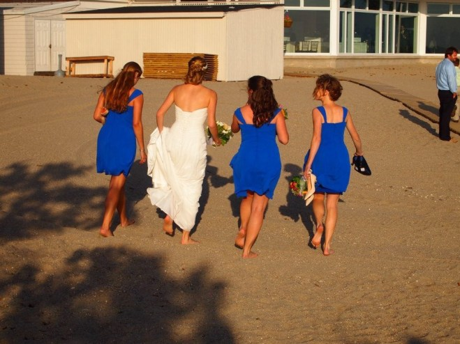 Wedding - Walking to Hide with my sisters