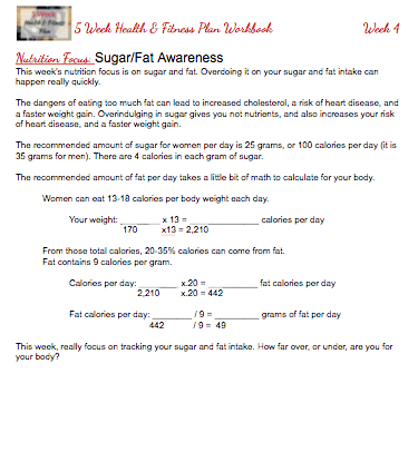5 Week Healthy & Fitness Plan - Sugar:Fat Awareness