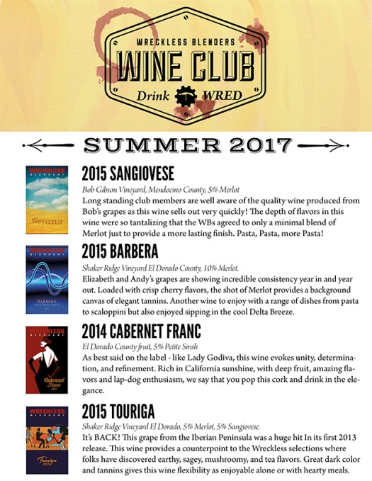 Wreckless Blenders Wine Club Shipment 2017 Summer@0,25x
