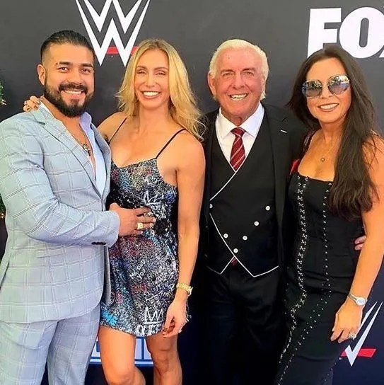 Andrade Charlotte Flair Ric Flair and Wendy