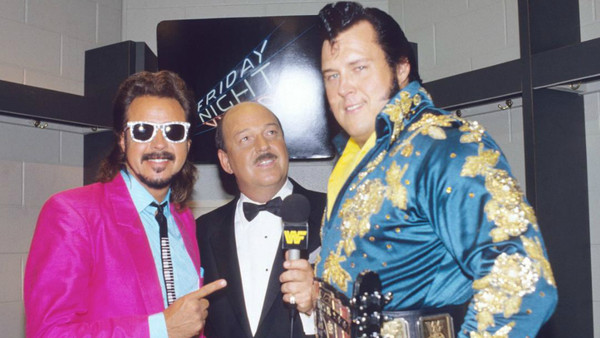 Mean Gene Okerlund once cut the tape back to back