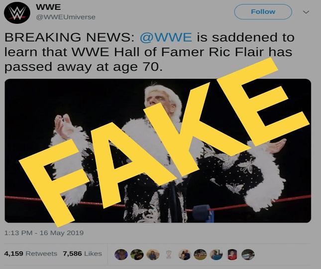 Ric Flair was declared brain dead