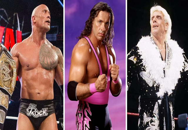 The Rock, Bret Hart and Ric Flair