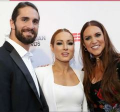 Seth Rollins, Bechy Lynch and Stephanie Mcmahon