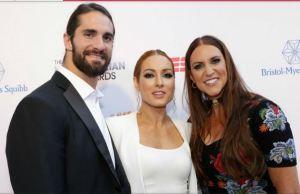 Seth Rollins, Bechy Lynch and Stephanie Mcmahon