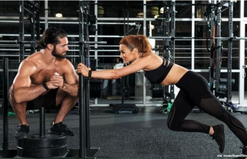 Seth Rollins and Becky lynch gym