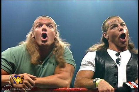 Classic photo of WWE legends Triple H and Shawn Michaels