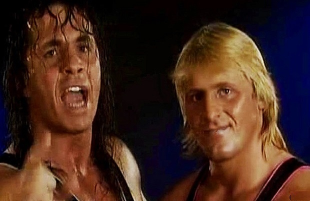 Bret Hart and Owen Hart wrestling
