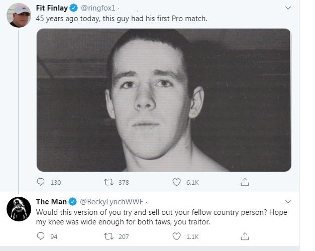 Becky Lynch calls Fit Finlay a traitor tweet