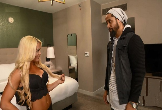 WWE star Mandy Rose tries to seduce Jimmy Uso in sexy lingerie at