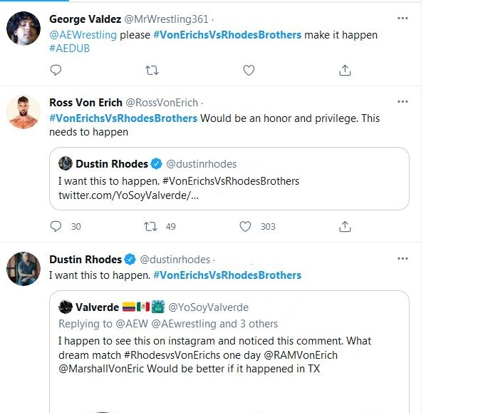 Dustin Rhodes took to Twitter to express his desire for a Rhodes brothers vs Von Erich brothers match