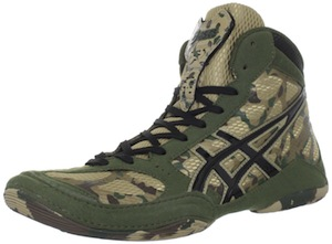 Camo wrestling shoes are perfect for hunting down your opponent on the mat.