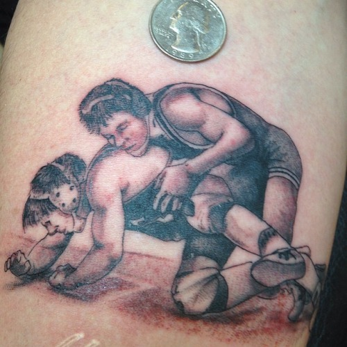 Small wrestling tattoo #ink #tattoo #shading #wrestling...