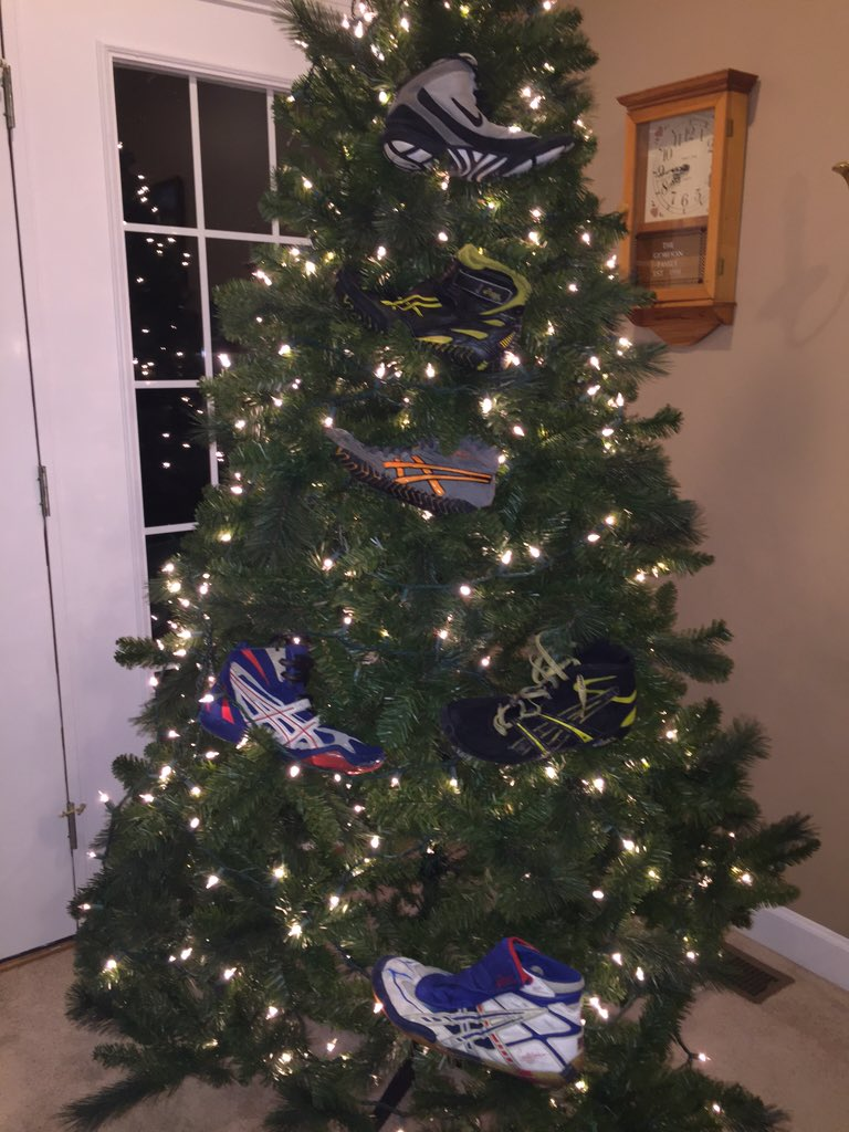 Wrestling Shoes in a Christmas Tree