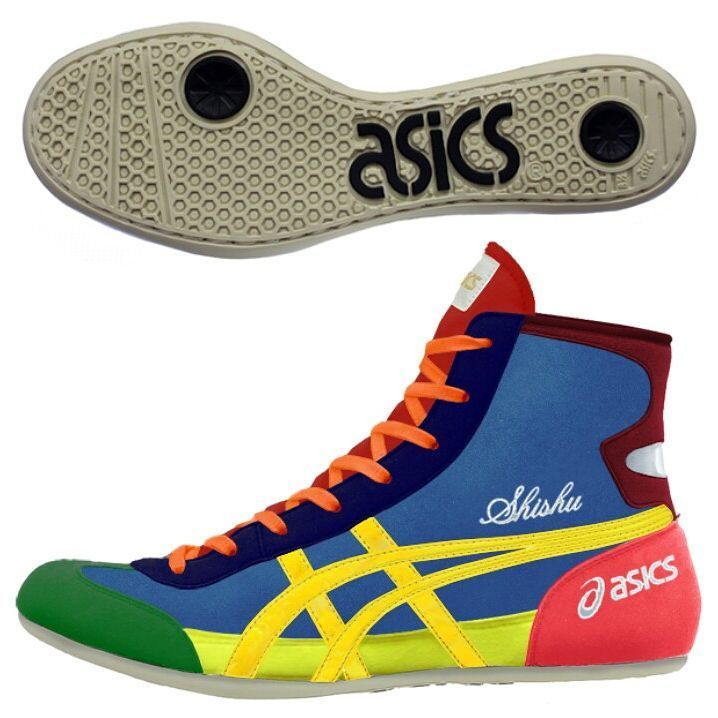 Quite possibly the most colorful wrestling shoes ever....