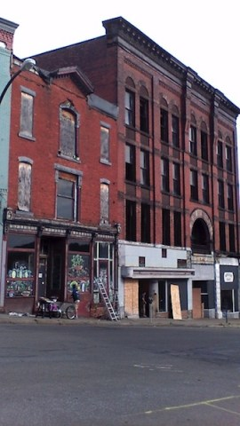 The Arcade Building will see some facade improvements, thanks to an artist from Chicago and funding from the city of Jamestown and Jamestown Renaissance Corporation. (Photo by Jason Sample/WRFA)