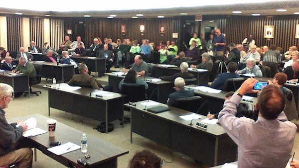 The Chautauqua County Legislature spent over two hours on Wednesday night hearing comments and discussing the future of the County Home prior to a failed vote to sell the facility to VestraCare. The proposal to sell failed by one vote. (Photo by Jason Sample/WRFA)