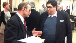 Chautauqua County Legislator Terry Niebel (R-Dunkirk) talks with VestraCare's Edward Farbenblum following a Q&A session with the legislature on Wednesday, Feb. 5, 2014.