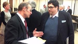 Chautauqua County Legislator Terry Niebel (R-Dunkirk) talks with VestraCare's Edward Farbenblum following a Q&A session with the legislature on Wednesday, Feb. 5, 2014.