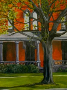 This painting of the Jackson Center is one of the many pieces that will be on display at the Prendergast Library as part of the 2014 Art Teachers Exhibit, opening Friday March 21.