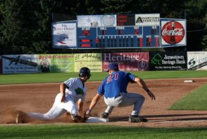 A member of the Jamestown Jammers slides into third during a baseball game at Diethrick Park. The Jammers played in Jamestown from 1994 to 2014 and during that time were affiliated with the Detroit Tigers, the Miami Marlins, and, most recently, the Pittsburgh Pirates. On Aug. 25, 2014, it was announced that the team would relocate to Morgantown, W.V.