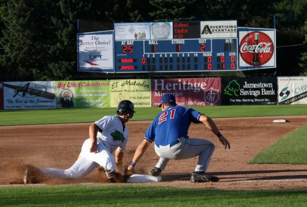 A member of the Jamestown Jammers slides into third during a baseball game at Diethrick Park. The Jammers 2014 season begins Friday, June 13 with a home opener. It marks the 75th consecutive year of professional baseball in Jamestown.