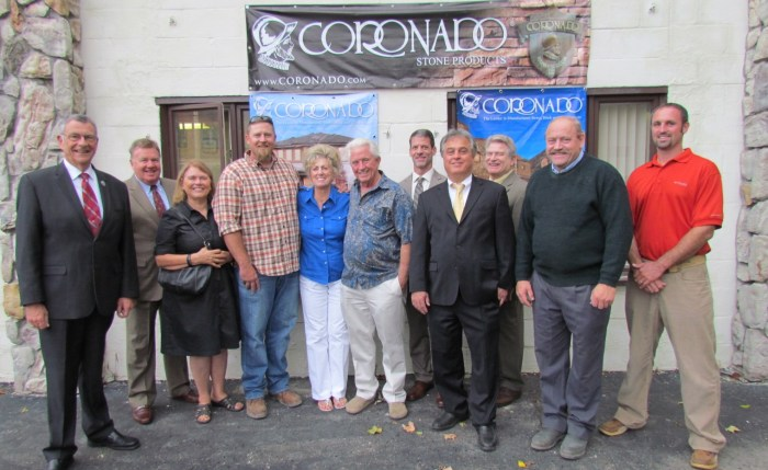 Several officials from Westfield and Chautauqua County were on hand to welcome Coronado Stone, a California-based company, the region. Showing in the photo are: Vince Horrigan, Chautauqua County Executive; Kevin Sanvidge, CCIDA Administrative Director/CEO; Martha Bills, Supervisor, Town of Westfield; Dylan Mowry, Coronado Stone Lodi, CA Plant Manager; Mrs. Kathy Bacon and Mr. Mel Bacon, Owner and Founder, Coronado Stone Products; Aaron Resnick, Executive Director, Westfield Development Corporation; Diego Sirianni, Project Specialist, Empire State Development; John Hemmer, Chautauqua County Legislator; Geoff Turner, Coronado Stone Westfield Plant Manager; Robert Cochran, Deputy Mayor, Village of Westfield (tentative)