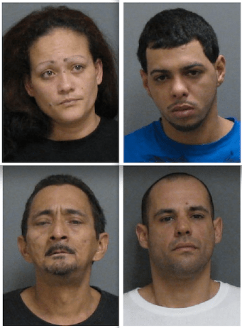 City police say (clockwise from upper left) Iris Blanco-Rivera, 30; Carlos Juan Gonzalez Diaz, 30; Alexander Mercado, 35; and Rolando Garcia, 50, were arrested during drug raids at 539 Crescent St. and 842 Lafayette St. on Tuesday, March 3, 2015.