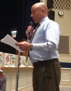 Jamestown Teachers Association President Chris Reilly addresses the school board during the April 7, 2015 meeting.