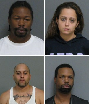 Arrested on June 25 in two separate drug investigations were (clockwise, from upper left): Mark Goldsmith, Peggy Sue Reese, Antonio Wiggins and Jensen Vasquez, all of Jamestown.