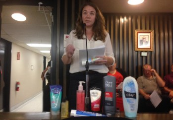 Fredonia State professor and researcher Dr. Sherri Mason speaking to the County Legislature in September 2015, prior to its vote on a local law banning the sale of products containing microbeads.