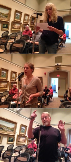 Area residents (from top to bottom): Dianne Soule, Hillary Hornyak, and Doug Champ were three of the 10 individuals who addressed the library board. Those who spoke were split between selling or keeping the art collection.