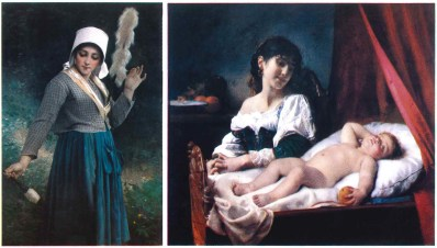 """Two pieces of artwork in the Prendergast collection that could be auctioned in the coming months: Left: """"Industry"""" by French artist Eugene Romain Thirion - painted in 1874. Right: """"Sleep, Baby, Sleep"""" by French artist Leon Bazile Perrault, painted in 1884. Both are from a collection of 32 paintings given to the library at the bequest of the Prendergast family."""