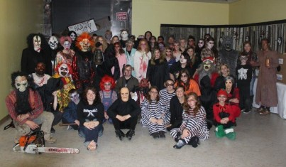 Participants and organizers take a break during the 2015 Haunting at the Mall event at the Chautauqua Mall.
